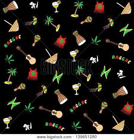 Rastafarian pattern. Vector cartoon Jamaica elements background