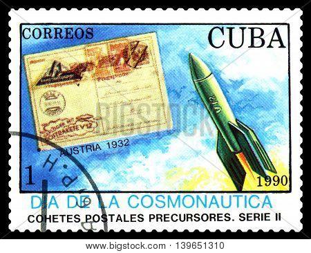 STAVROPOL RUSSIA - MARCH 25 2016: A stamp printed in Cuba shows rocket Austria 1932 cosmonautics Day circa 1990