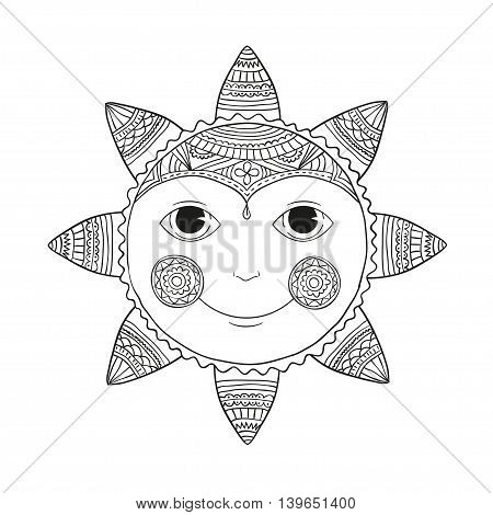 Astrology Symbol of Sun with Rays. Ornamental doodle vector illustration isolated on white background.