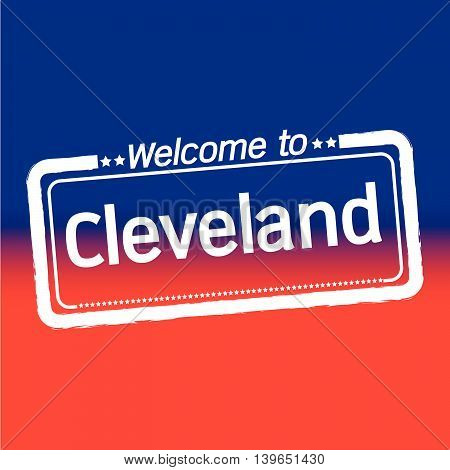 an images of Welcome to Cleveland City illustration design
