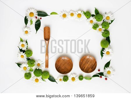 Wooden Scoop, Plates And Space For Your Text Or Product.