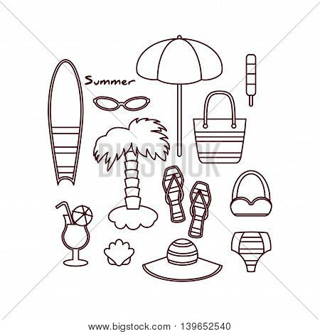 Vector Illustration of Elements Related to the Beach