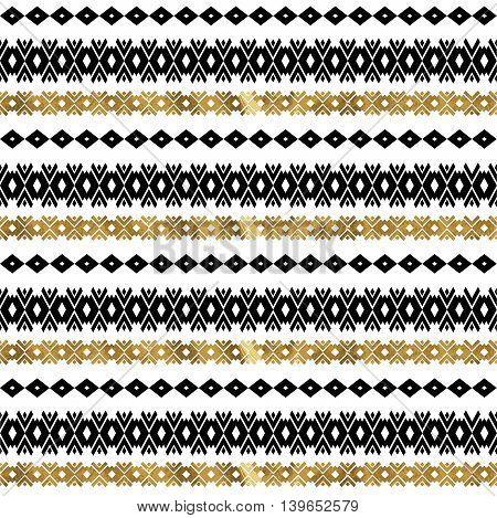 Tribal geometric gold pattern. Aztec and Navajo gold ornament. Tribal gold tattoo. Aztec flash tattoo. Vector ink illustration