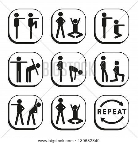 Sport exercises - set of icon with stick figures. Collection of vector logos.