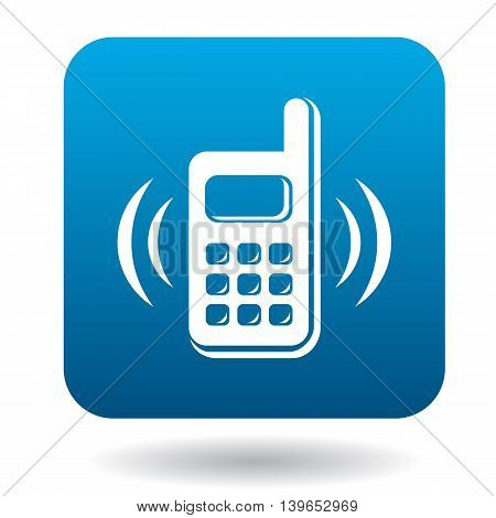 Consultation by phone icon in flat style in blue square. Service symbol
