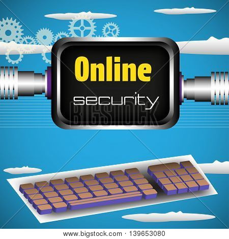 Colorful illustration with computer keyboard and screen with the text online security. Internet security theme