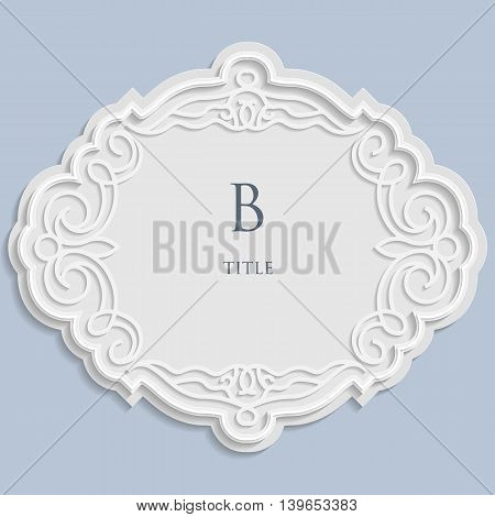 Vector label vintage frame for an inscription calligraphic ornament template to cut paper 3D effect.
