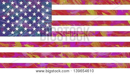 Illustration of the American Flag with a colorful look