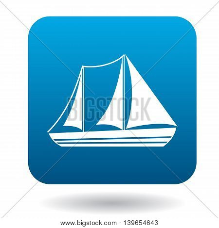 Sailboat with two masts icon in flat style on a white background