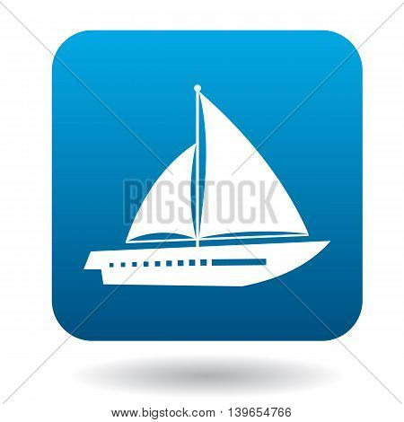 Sailing vessel with two sails icon in flat style on a white background
