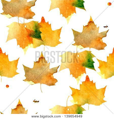 pattern with the image of maple leaves, filled with watercolor texture of yellow, orange, green shades.
