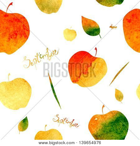 pattern with the image of apples and leaves, filled with watercolor texture of yellow, orange, green and red colors. September inscription.