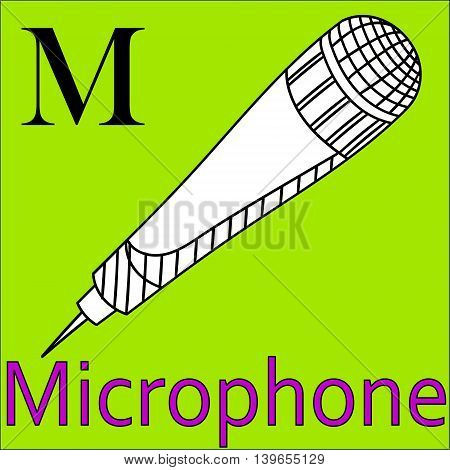 M letter. Object capital alphabet. Colorful font. Uppercase. Worksheet, Exercises for kids, Coloring book. Illustration of alphabet letters with beautiful clip arts microphone