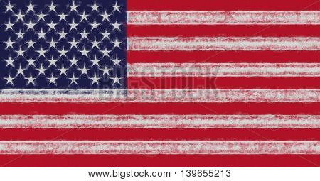 Illustration of the American Flag with a smudged look