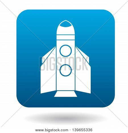 Space shuttle rocket launch icon in flat style on a white background