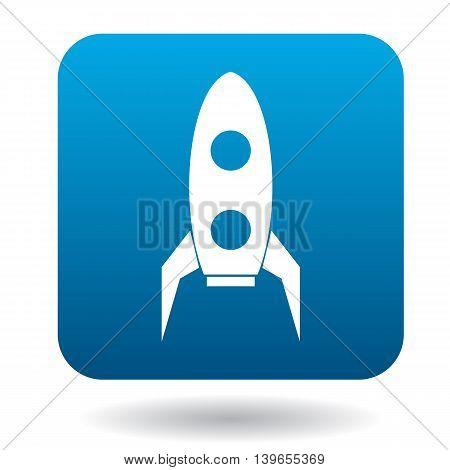 Retro rocket icon in flat style on a white background