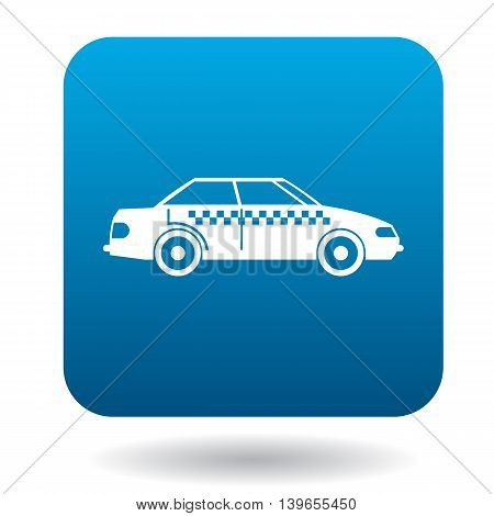 Taxi car icon in flat style on a white background