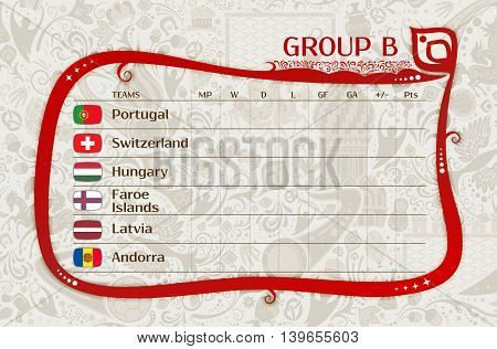 Football qualifiers matches group B table of results layering easy editable vector template