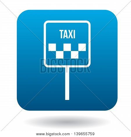 Taxi car sign icon in flat style on a white background