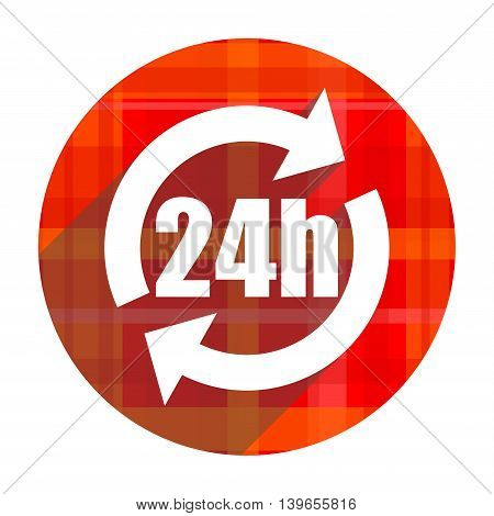 24h red flat icon isolated on white background
