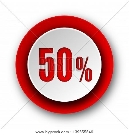 50 Percent Red Modern Web Icon On White Background