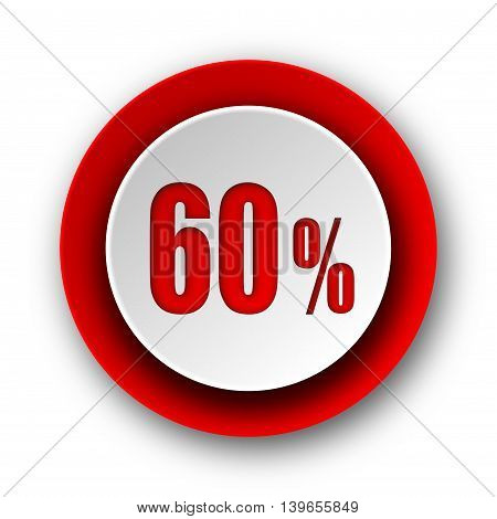 60 Percent Red Modern Web Icon On White Background