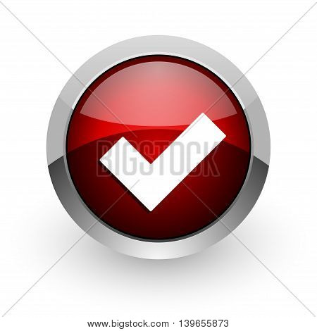 accept red circle web glossy icon on white background
