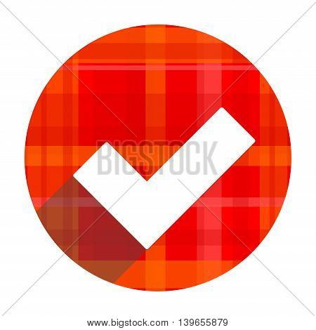 accept red flat icon isolated on white background