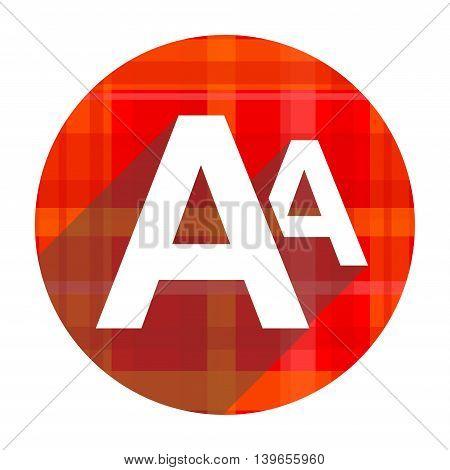 alphabet red flat icon isolated on white background