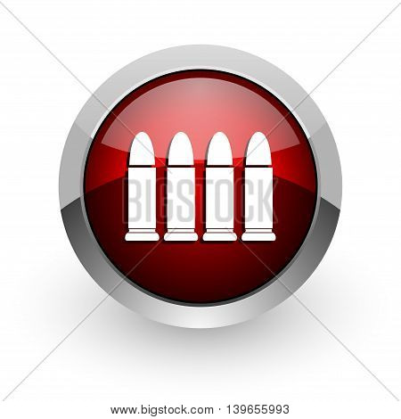 ammunition red circle web glossy icon on white background