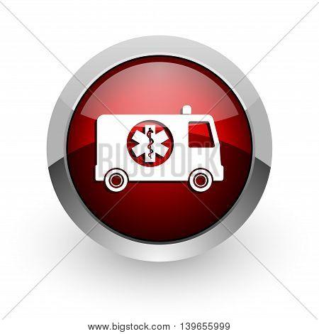 ambulance red circle web glossy icon on white background