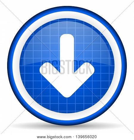 Arrow Down Blue Glossy Icon On White Background