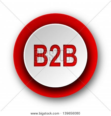 B2B Red Modern Web Icon On White Background
