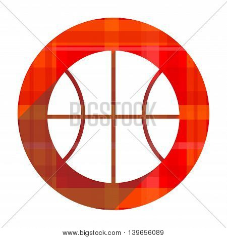 ball red flat icon isolated on white background