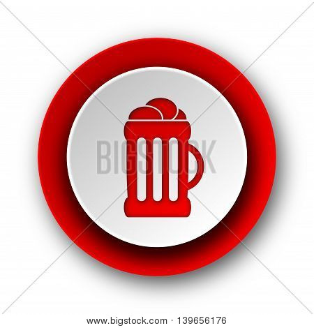 Beer Red Modern Web Icon On White Background
