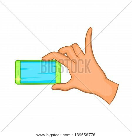 Hand holding mobile phone icon in cartoon style isolated on white background. Communication symbol