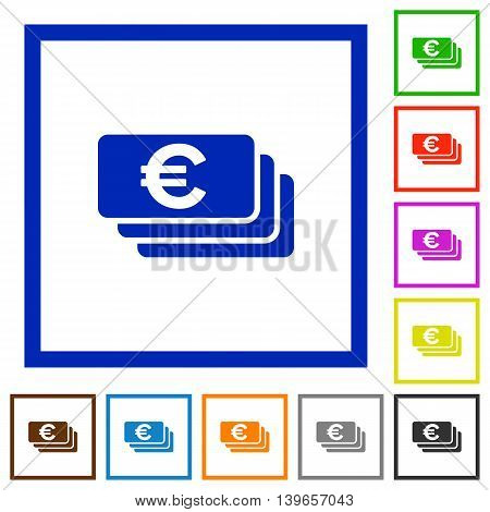 Set of color square framed Euro banknotes flat icons