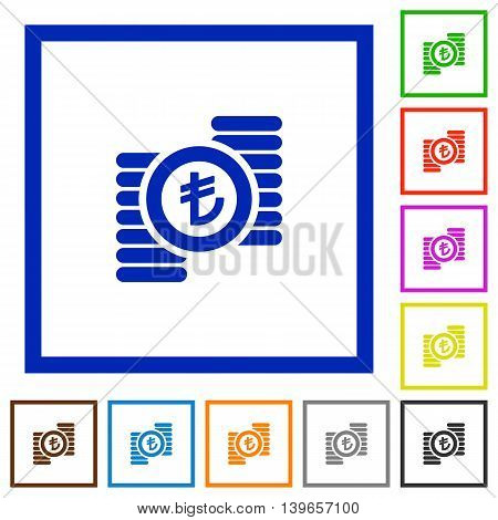Set of color square framed Turkish Lira coins flat icons