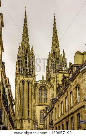 The Cathedral of Quimper, Finistere, Brittany, France