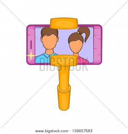 Selfie stick with mobile phone icon in cartoon style isolated on white background. Communication symbol
