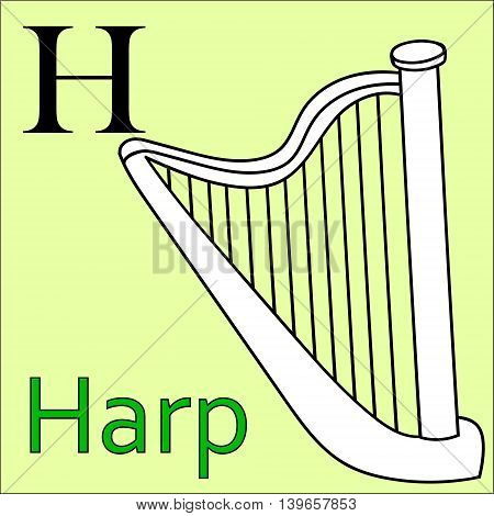 H letter. Object capital alphabet. Colorful font. Uppercase. Musical instrument. Worksheet, Exercises for kids, Coloring book. Illustration of alphabet letters with beautiful clip arts harp