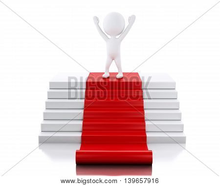 3d renderer image. White people on top of podium with red carpet. Success concept. Isolated white background.