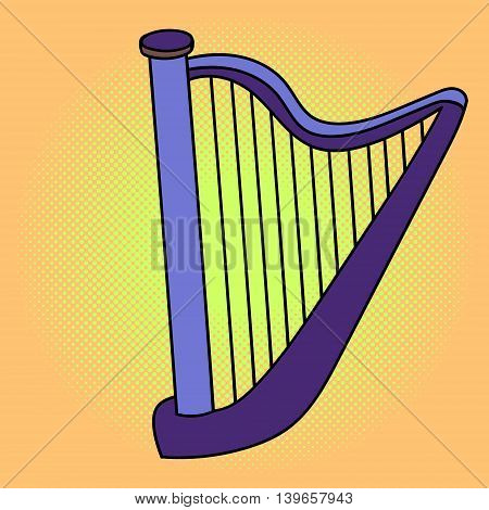 Harp pop art vector illustration. Beautiful style comic. Hand-drawn musical instrument.