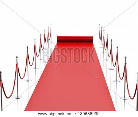 3d renderer image. Empty red carpet. Isolated white background.
