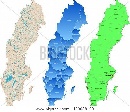 Three different detailed map of Sweden nation.