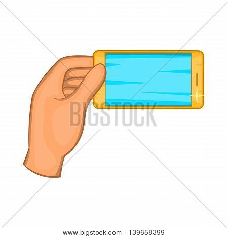 Hand holding smartphone icon in cartoon style isolated on white background. Communication symbol