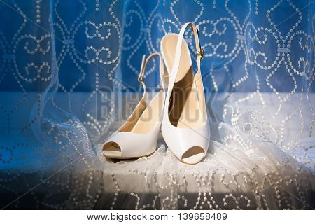 Wedding shoes on a blue and white background.
