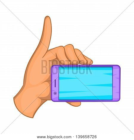 Smartphone in hand icon in cartoon style isolated on white background. Communication symbol