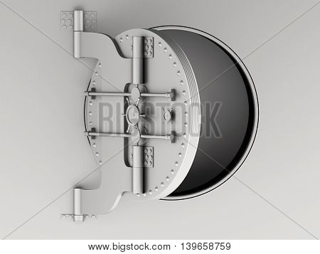 3d renderer image. Metallic bank vault door open. Security and safe concept.