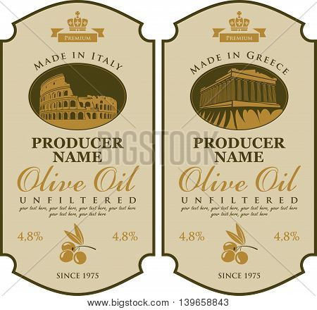 Label for olive oil Made in Italy and Greece with the image of Parthenon